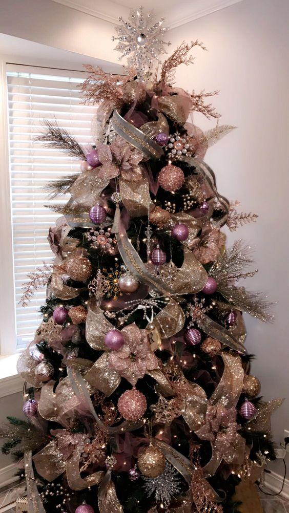 Rose and gold Christmas tree; Christmas tree decorating ideas; Christmas decorations; DIY Christmas
