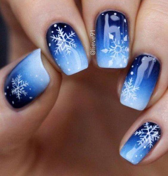 winter nails; winter acrylic nails; Christmas nails; winter nail colors; winter snowflake; classy winter nails; red and gold nail art designs.