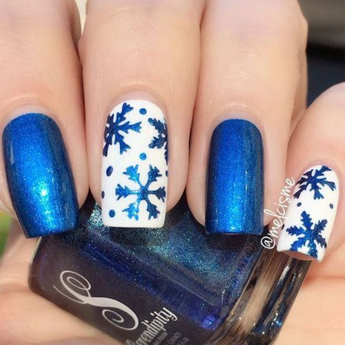 winter nails; winter acrylic nails; Christmas nails; winter nail colors; winter snowflake; classy winter nails; red and gold nail art designs.