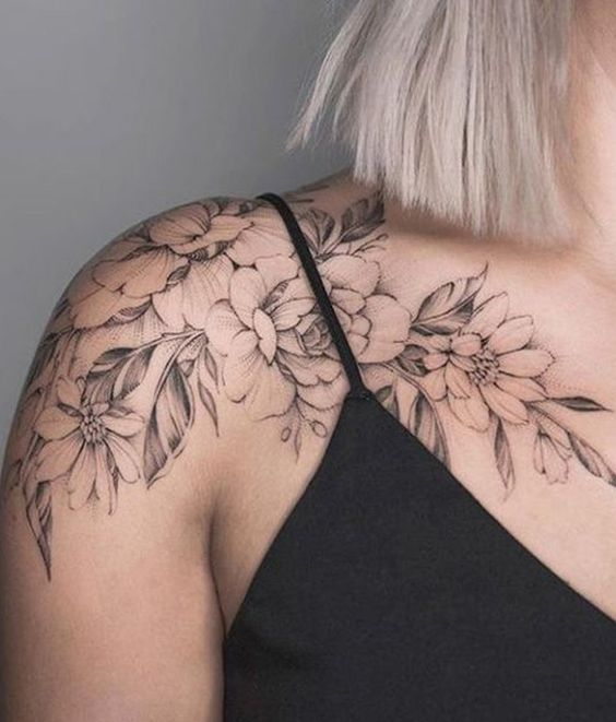 3d693cf91 shoulder tattoos; sexy tattoos; floral tattoos; flower tattoos; small  tattoos for women