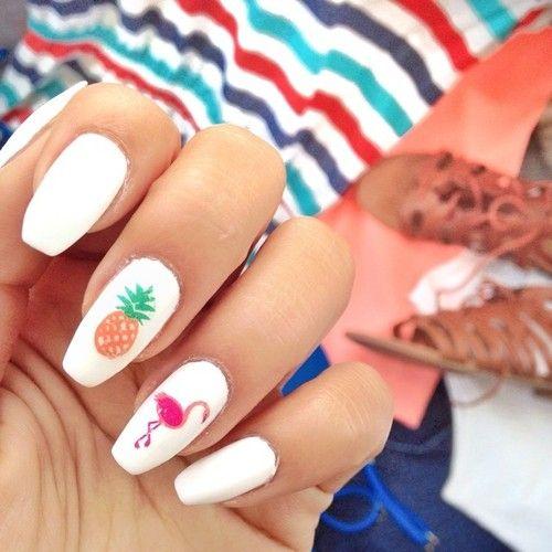 pink Flamingo nails;pinapple and flamingo nails; Flamingos spring summer nail art ; Tropical Nails.