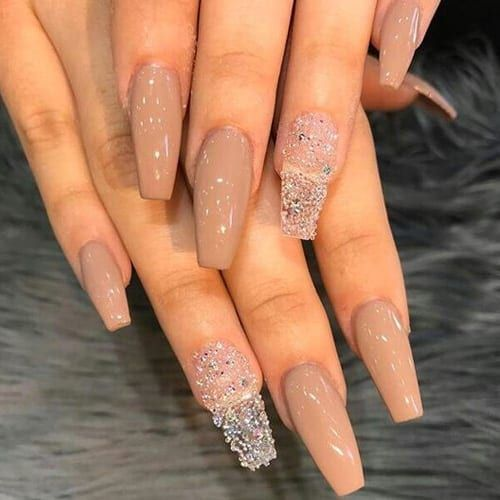 Glitter coffin nails; short, medium and long coffin acrylic nails; natural coffin nails; matte coffin acrylic nails.
