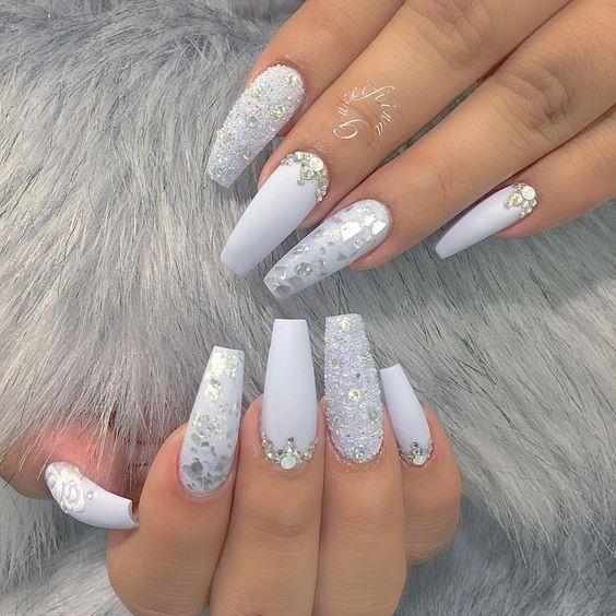 Glitter coffin nails; short, medium and long coffin acrylic nails; natural coffin nails; matte coffin acrylic nails.