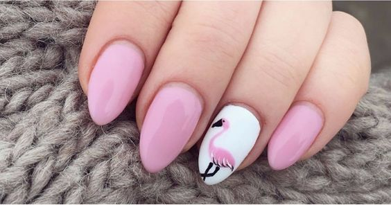 pink Flamingo nails;pinapple and flamingo nails; Flamingos spring summer nail art ; Tropical Nails.