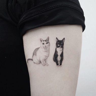 cute cat tattoos, cute tattoo ideas